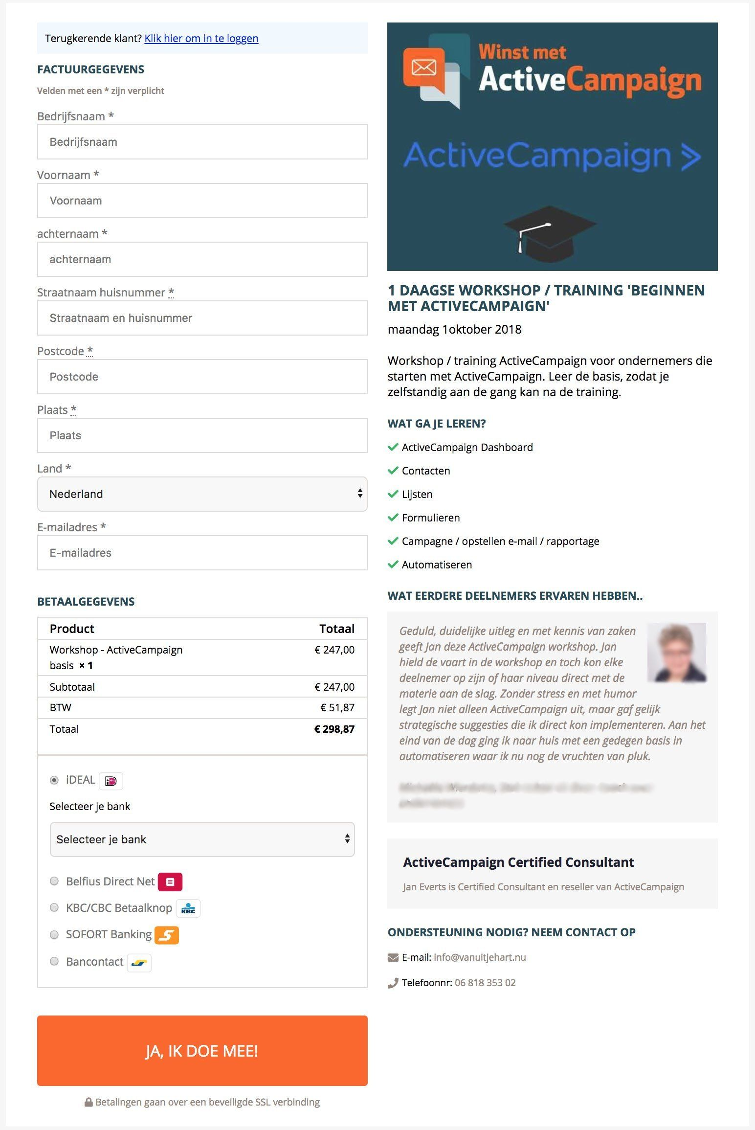 woocurve handsome checkout page voorbeeld